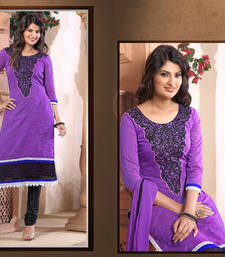 Buy Blue Embroidered Work chanderi semi-stitched salwar with dupatta party-wear-salwar-kameez online