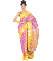 Buy LAVENDER - YELLOW hand-woven cotton saree with blouse durga-puja online