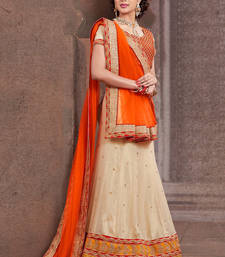 Buy Beige Color Designer Lehenga Designed With Embroidred Skirt And Embroidred lehenga-choli online