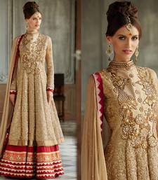 Buy chiku embroidered georgette semi-stitched salwar with dupatta wedding-salwar-kameez online