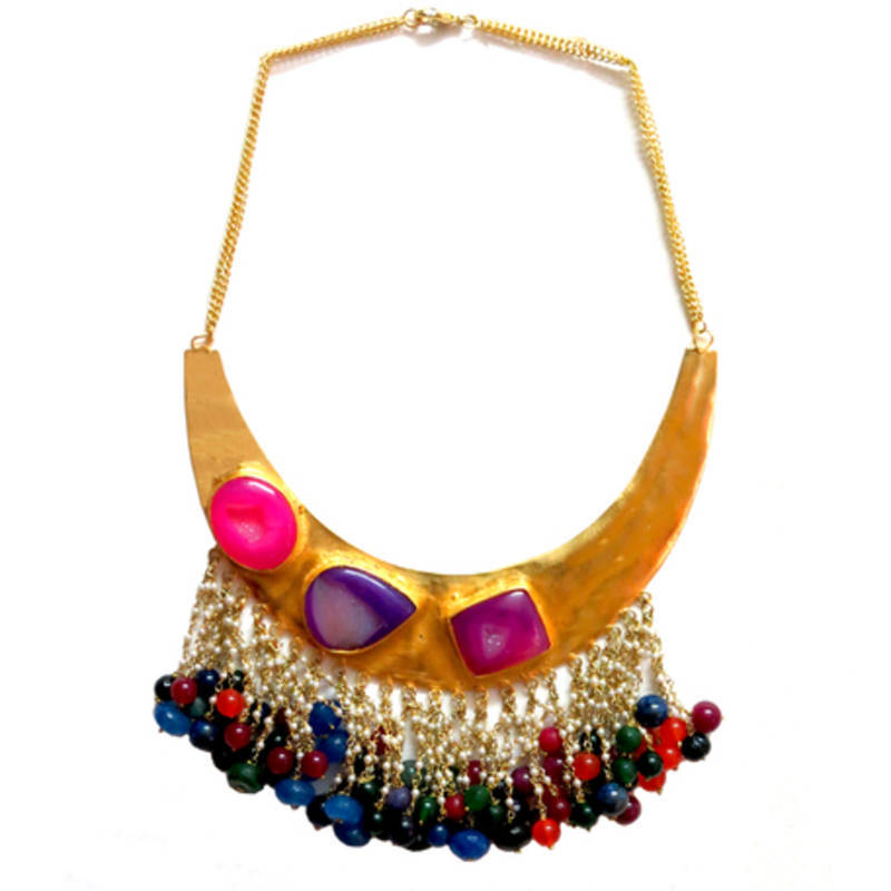 buy multi color agate statement necklace