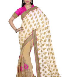 Buy Off White - Beige embroidered jacquard saree with blouse jacquard-saree online