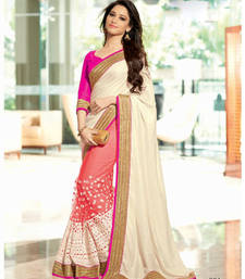 Buy White - pink embroidered net saree with blouse party-wear-saree online