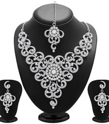 Buy Glittery Rhodium Plated AD Necklace Set for Women necklace-set online
