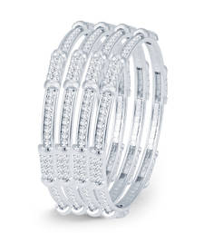 Buy Fascinating Rhodium Plated AD Set of 4 Bangles for Women bangles-and-bracelet online