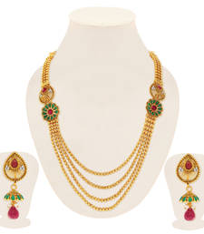 Buy Trendy Gold Plated Four String Necklace Set for Women necklace-set online