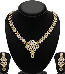 Buy Stunning Gold Plated AD Necklace Set for Women necklace-set online