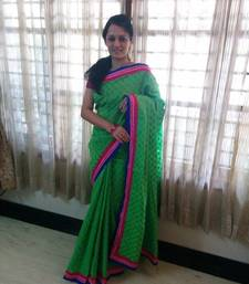 Buy Green plain cotton saree with blouse cotton-saree online