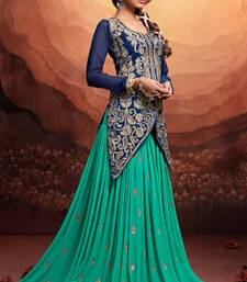 Buy Turquoise embroidered georgette semi-stitched salwar with dupatta anarkali-salwar-kameez online