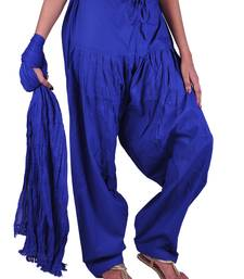 Buy Womens Cottage Ink Blue Cotton Semi Patiala and Dupatta Set salwars-and-churidar online