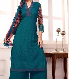 Buy Teal embroidered georgette semi-stitched salwar with dupatta party-wear-salwar-kameez online