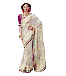 Buy Cream embroidered crepe saree with blouse bridal-saree online