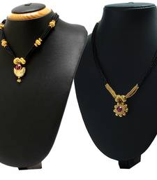 Buy Crystal Yellow Gold Alloy Combo Pack of 2 Mangalsutra jewellery-combo online
