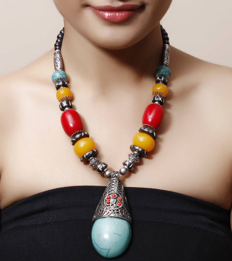 Buy Turquoise Long Pendant Tibetean Necklace Online