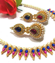 Pink and blue pearl Gota necklace set shop online