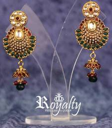 Royal Pearls Jhumka Earrings studded Gemstone shop online
