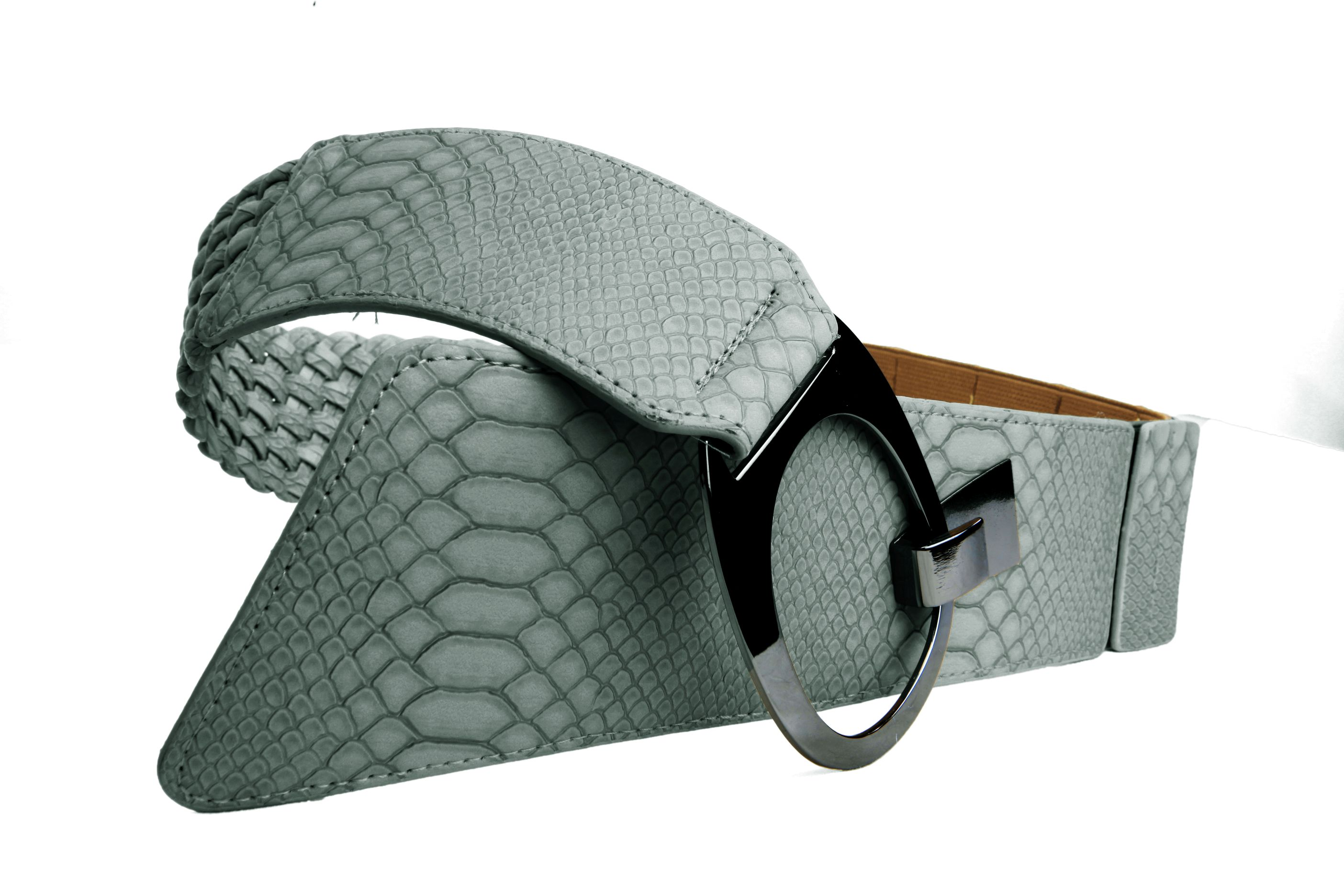buy braided grey wide belt