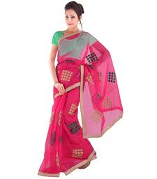 Pink plain net  saree with blouse shop online