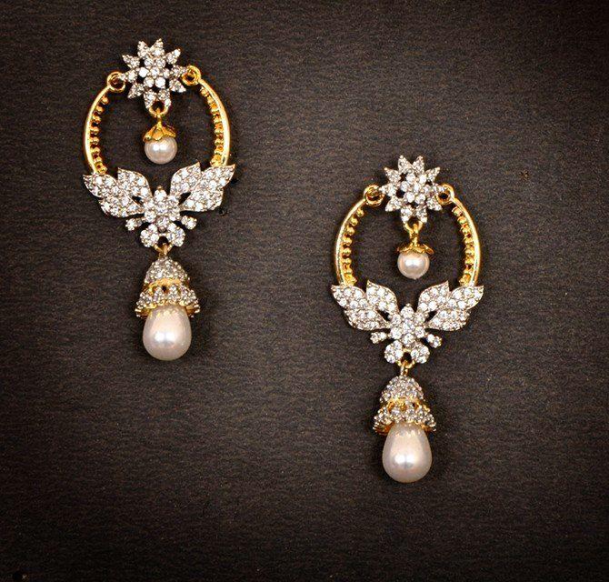 Buy Gold Diamond Chand Bali Earrings Online