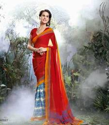 Buy Red  -  Blue  Printed georgette saree with blouse georgette-saree online