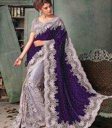 Buy purple  velvet embroidered net saree with blouse wedding-saree online