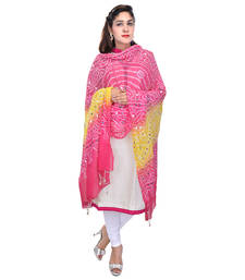 Buy Pink Yellow Bandhej Cotton Hand Work Dupatta stole-and-dupatta online