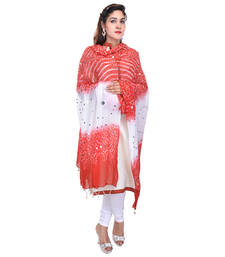 Buy Red White Bandhej Cotton Hand Work Dupatta stole-and-dupatta online