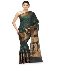 Buy Black woven cotton-silk saree with blouse banarasi-saree online