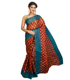 Brown printed cotton-poly saree with blouse shop online