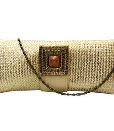Buy Gold Touch Jute Clutch with Reverse 'Ulta' Flap (Gold) clutch online