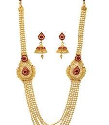 Buy ROYAL TRADIONAL ANTIQUE STONE STUDDED 5 LINE PEACOCK FLOWER THEME LONG SET necklace-set online