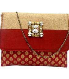 Buy Brocade clutch with two colour flap (Maroon) clutch online