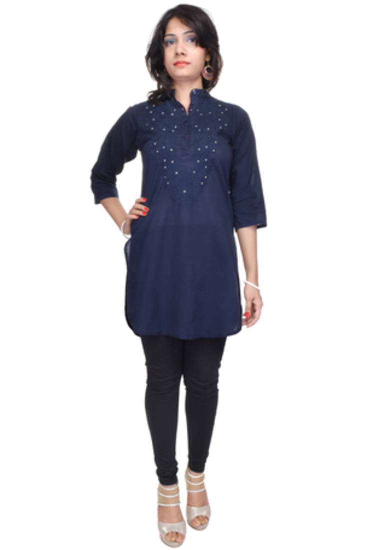 Stand Collar Kurta Designs : Buy navy blue straight kurta with stand collar online