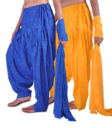 Buy Combo Pack of 2 Cotton Jacquard Patiala & Chiffon Dupatta Set readymade-suit online