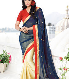 Buy Blue , Cream embroidered georgette saree with blouse wedding-saree online