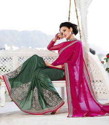 Buy Pink , Green embroidered georgette saree with blouse wedding-saree online