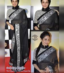 Buy Black embroidery georgette saree with blouse bollywood-saree online
