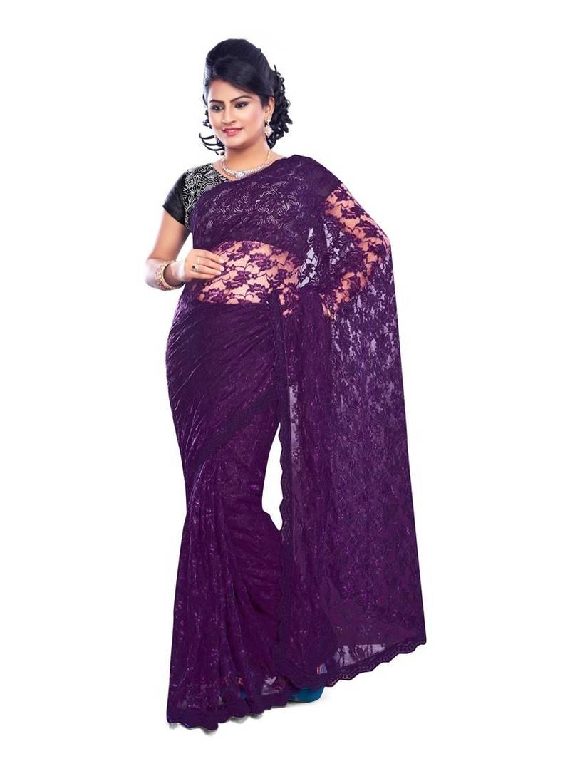 Buy Purple Plain Net Saree With Blouse Online