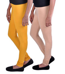 Buy Combo Pack of 2 Cotton , Lycra Leggings- Mustard & Beige legging online