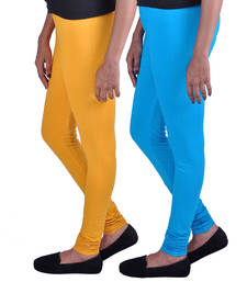 Buy Combo Pack of 2 Cotton , Lycra Leggings- Mustard & Turquoise legging online