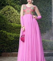 Buy Pink Embroidered Soft  Net semi stitched Gown party-wear-gown online