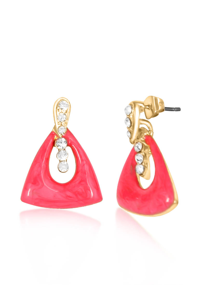 buy pink triangle drop earrings for