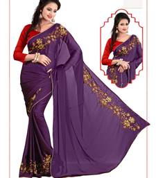 Buy Purple embroidered georgette saree with blouse satin-saree online