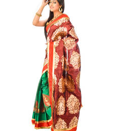Buy multicolor hand woven silk saree with blouse chanderi-saree online