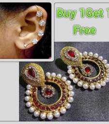 Buy Buy 1 get 1 free Maroon Pearl polki  earrings with ear cuff jewellery-combo online