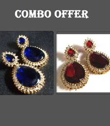 Buy Buy 2 Dark Blue and Maroon Fancy Earrings jewellery-combo online