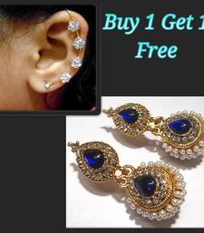 Buy Dark Blue Kundan Pearl Jhumki and free Earr Cuff jewellery-combo online