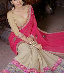 Buy Pink and Beige embroidered georgette saree with blouse heavy-work-saree online
