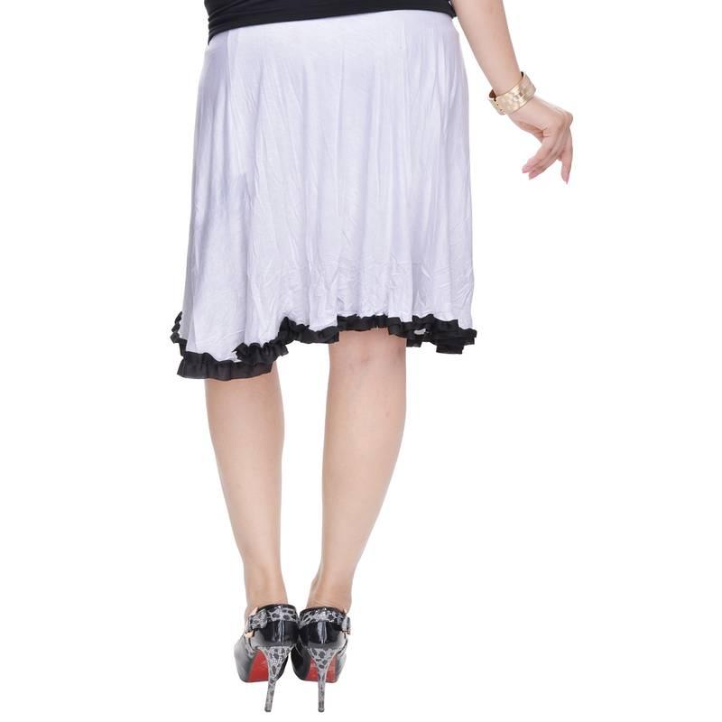 buy white knee length cotton lycra flair skirt