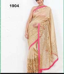 Buy GOLD embroidery georgette  and  Cotted  saree with blouse bollywood-saree online